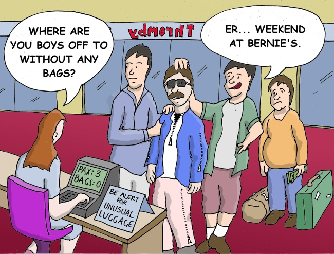 Thromby Air - Avoiding Baggage Fees - The new Weekend at Bernie's luggage.
